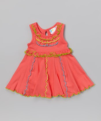 Pink Neon Ruffle Dress - Infant, Toddler & Girls