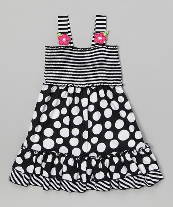 Black Stripe & Polka Dot Ruffle Dress - Infant & Toddler