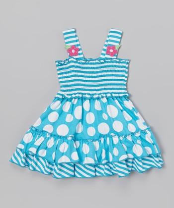 Blue Stripe & Polka Dot Ruffle Dress - Infant & Toddler