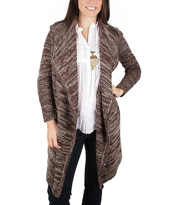 Chocolate Hooded Open Duster