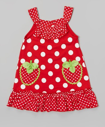 Red Polka Dot Strawberry Pocket Dress - Infant & Girls