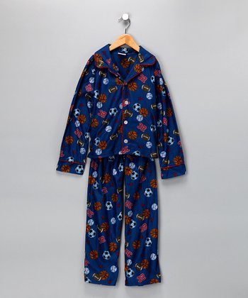 Navy Sport Flannel Pajama Set - Boys