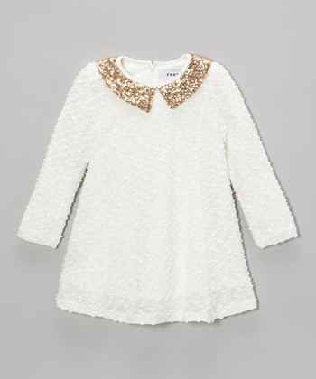 White & Gold Sequin Collar Dress - Toddler & Girls