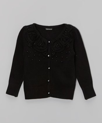 Black Rosette Cardigan - Girls