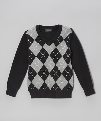 Black Argyle V-Neck Sweater - Toddler & Boys