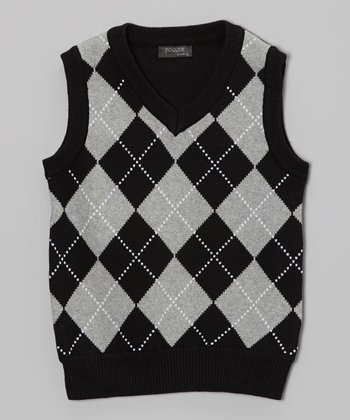 Black Argyle Sweater Vest - Toddler & Boys