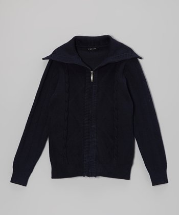 Blue Cable-Knit Zip-Up Cardigan - Boys