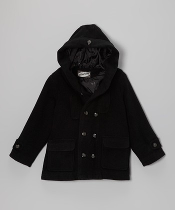 Black Hooded Peacoat - Toddler & Boys