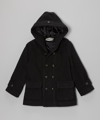 Charcoal Hooded Peacoat - Toddler & Boys