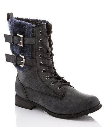 Distressed Black Double-Buckle Lace-Up Boot