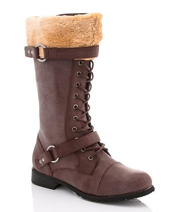 Distressed Brown Cuff Boot