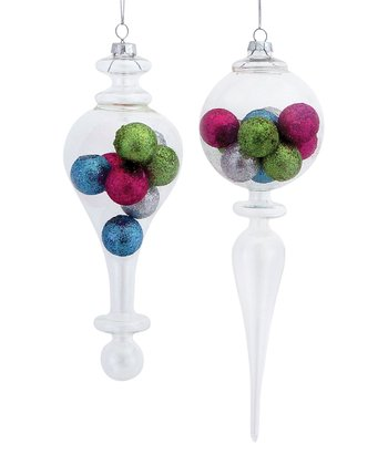 Glitter Ball Finial Ornament Set