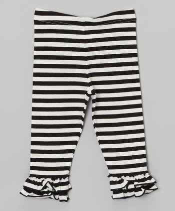 Black & White Stripe Ruffle Leggings - Infant, Toddler & Girls
