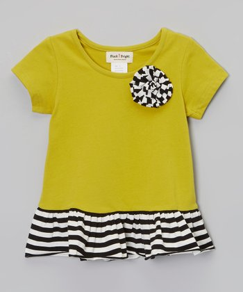 Green & Black Stripe Flower Peplum Top - Infant, Toddler & Girls