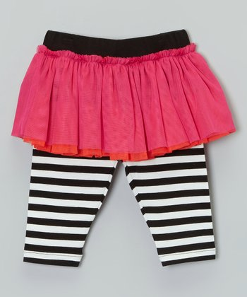 Pink & Black Stripe Skirted Leggings - Infant & Toddler
