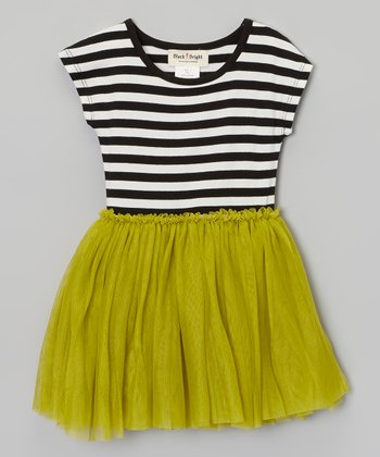 Green & Black Stripe Dress - Toddler & Girls