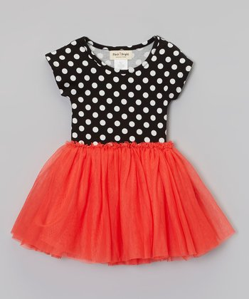 Red & Black Polka Dot Dress - Toddler & Girls