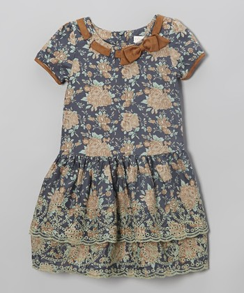 Blue Floral Bow Dress - Toddler