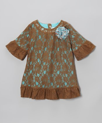 Turquoise & Brown Lace Shift Dress - Toddler & Girls