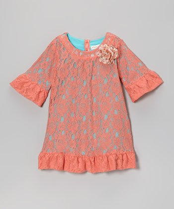 Turquoise & Coral Lace Shift Dress - Girls