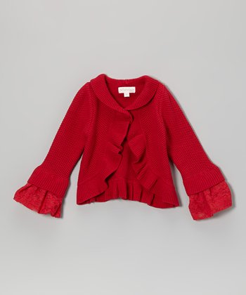 Red Ruffle Cardigan - Infant, Toddler & Girls