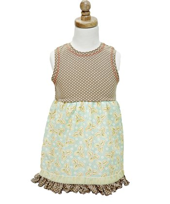 Tan Polka Dot Annalyn Sleeveless Dress - Infant, Toddler & Girls
