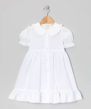 White Ruffle Peter Pan Collar Dress - Toddler & Girls