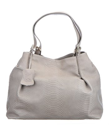 Gray Leather Lola Hobo