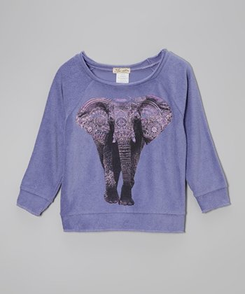 Purple Elephant Raglan Sweatshirt - Girls