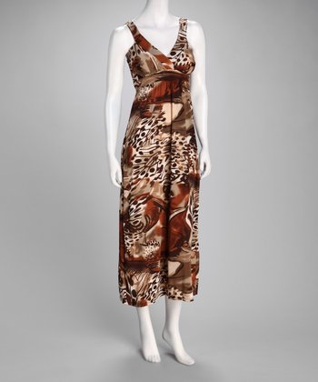 Brown Abstract Maxi Dress