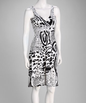 Black & White Jungle Cat Surplice Dress