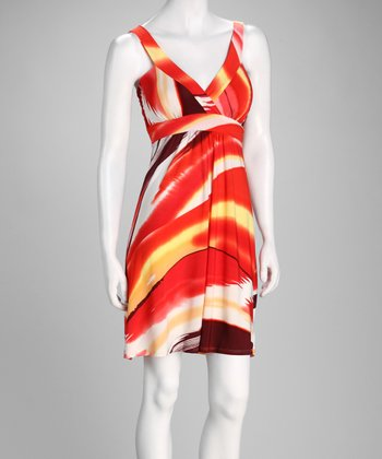 Orange Brushstroke Surplice Dress