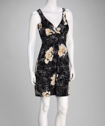 Black & Cream Floral Surplice Dress