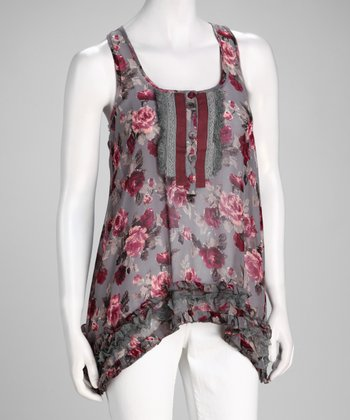Gray Floral Sleeveless Top