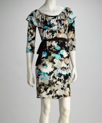 Blue & Gray Floral Tie-Waist Boatneck Dress
