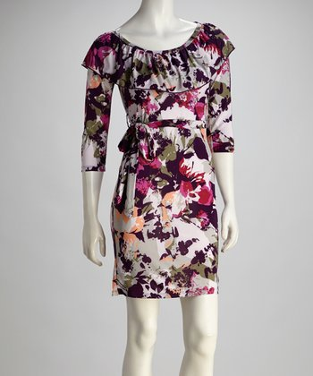 Purple & Gray Floral Tie-Waist Boatneck Dress