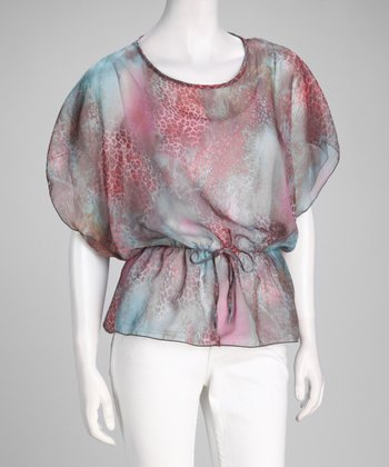 Pink & Blue Abstract Chiffon Cape-Sleeve Top