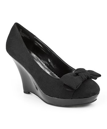 Black Lizz Bow Wedge