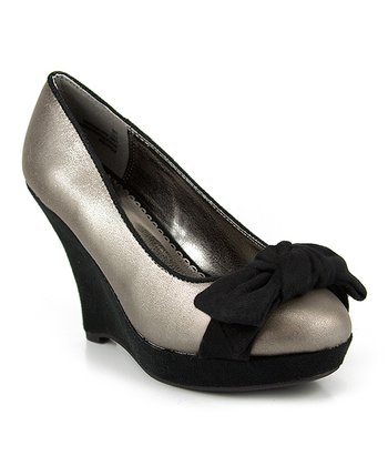 Silver Lizz Bow Wedge