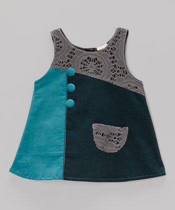 Blue & Gray Crocheted Corduroy Dress - Toddler & Girls