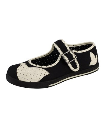 Black & White Little Tweets Mary Jane Flat