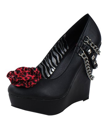Black & Red Leopard Rose Platform Wedge