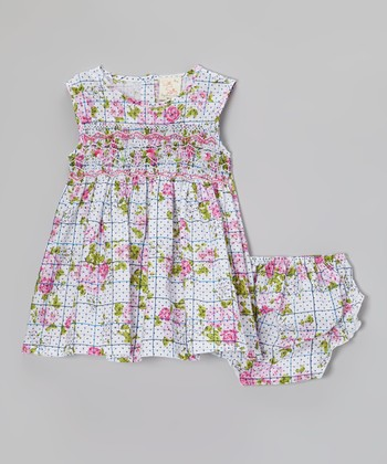 Pink & Blue Floral Grid Smocked Dress & Bloomers - Infant