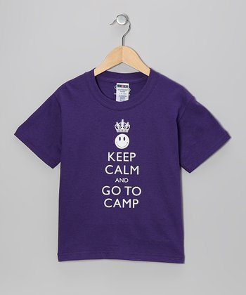 Purple 'Keep Calm and Go To Camp' Tee - Kids