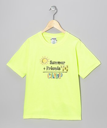 Neon Green Camp Equation Tee - Kids