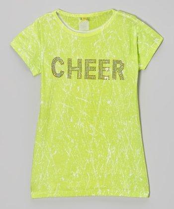 Lime Sparkle 'Cheer' Tee - Girls