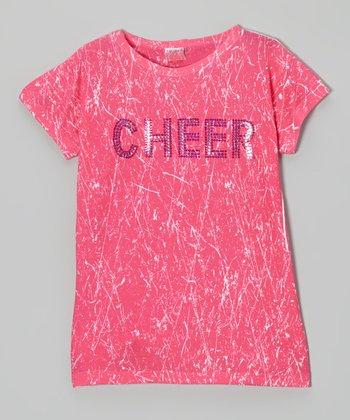 Pink Sparkle 'Cheer' Tee - Girls