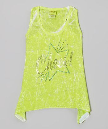 Lime Sparkle Star 'Cheer' Sidetail Tank - Girls