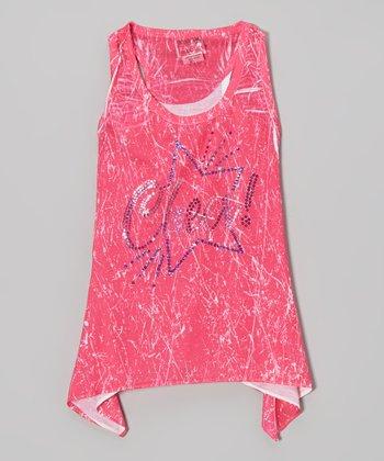 Pink Sparkle Star 'Cheer' Sidetail Tank - Girls
