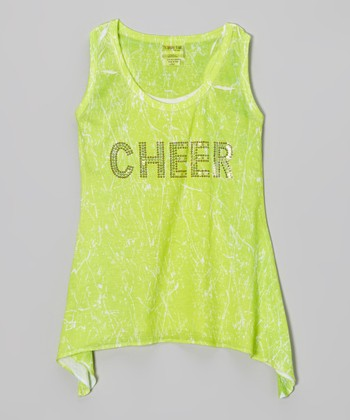 Lime Sparkle 'Cheer' Sidetail Tank - Girls